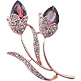 Silver Shoppee Soaked in Love 18K Rose Gold Plated Crystal and Cubic Zirconia Studded Alloy Brooch for Girls and Women