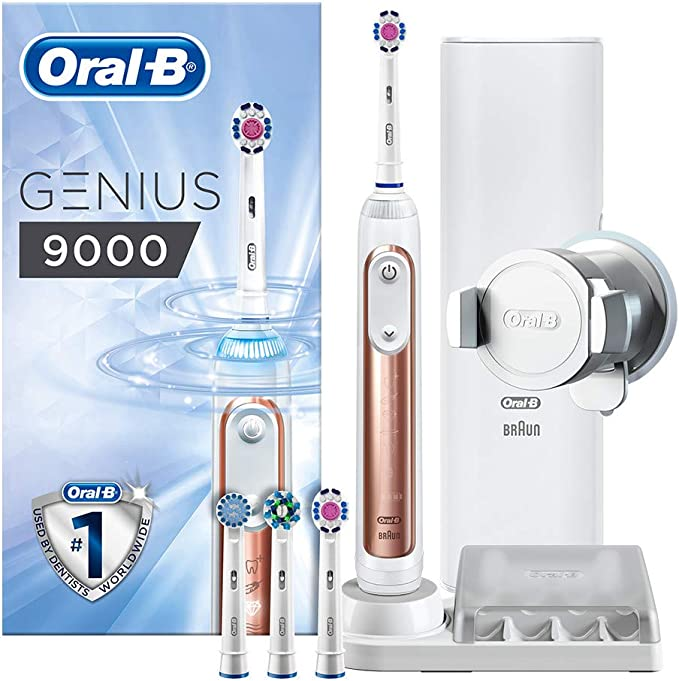 Oral-B Genius 9000 3D White Electric Toothbrush Powered By Braun, 1 Rose Gold Connected Handle, 6 Modes, 4 Toothbrush Heads, USB Travel Case with 2 Pin UK Plug, Christmas Gift for Men/Women: Amazon.co.uk: Health & Personal Care