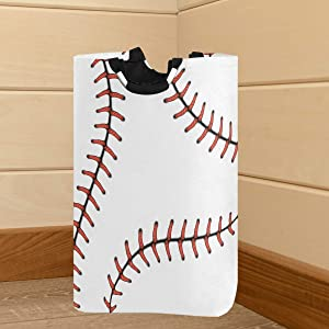 Pfrewn Red Stitching Baseball Large Laundry Basket Softball Laces Collapsible Laundry Hamper with Handles Waterproof Durable Clothes Washing Bin Dirty Baskets Storage for Home College Dorm Bathroom