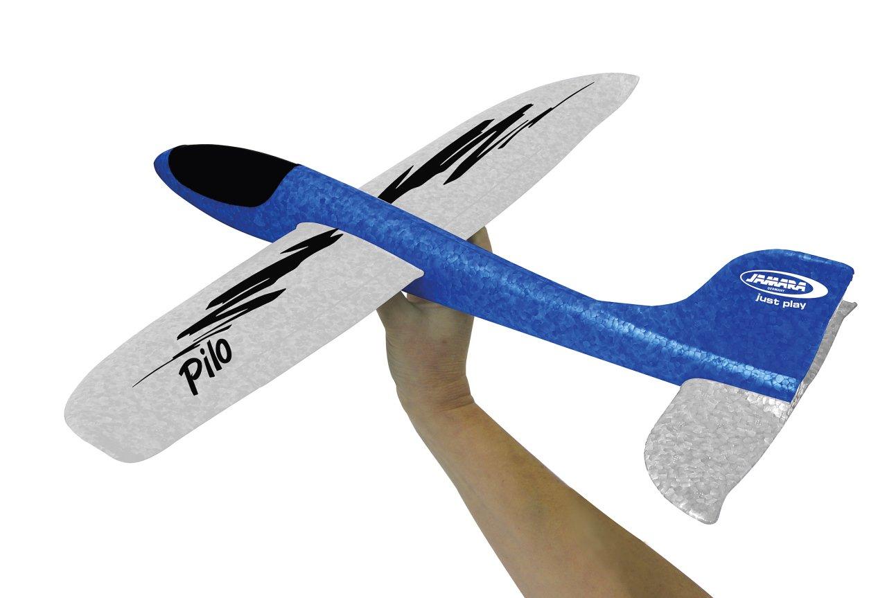 Jamara 460306 460306-Pilo Schaumwurfgleiter EPP blau/weiß – 48cm Spannweite, Super leicht, Fast unzerstörbar, Looping, Gleitflug Fast unzerstörbar
