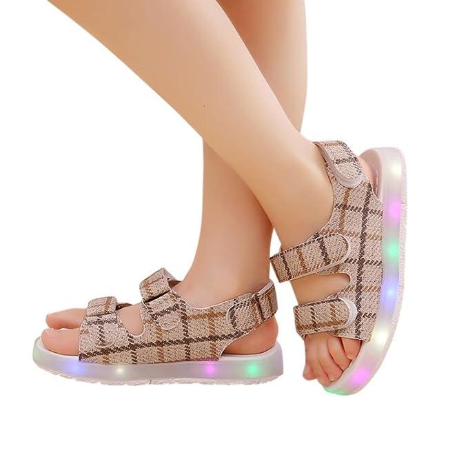 Amazon.com: xeduo nuevo niños plaid LED luminoso sandalias ...