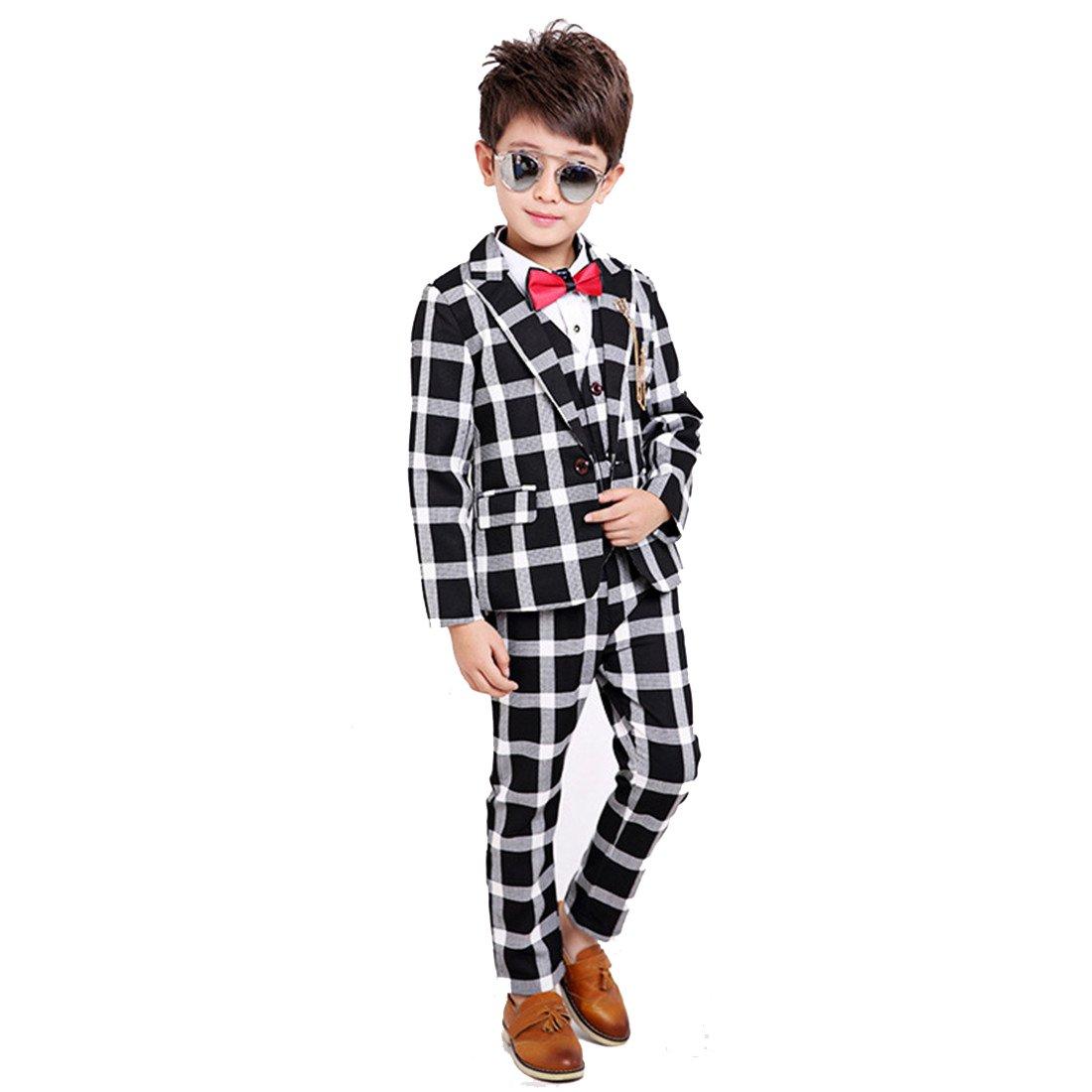 Gele Boy 4 Pieces Plaid Formal Suit Set,Vest+Pants+Blazer+Bow Tie (6, Black)
