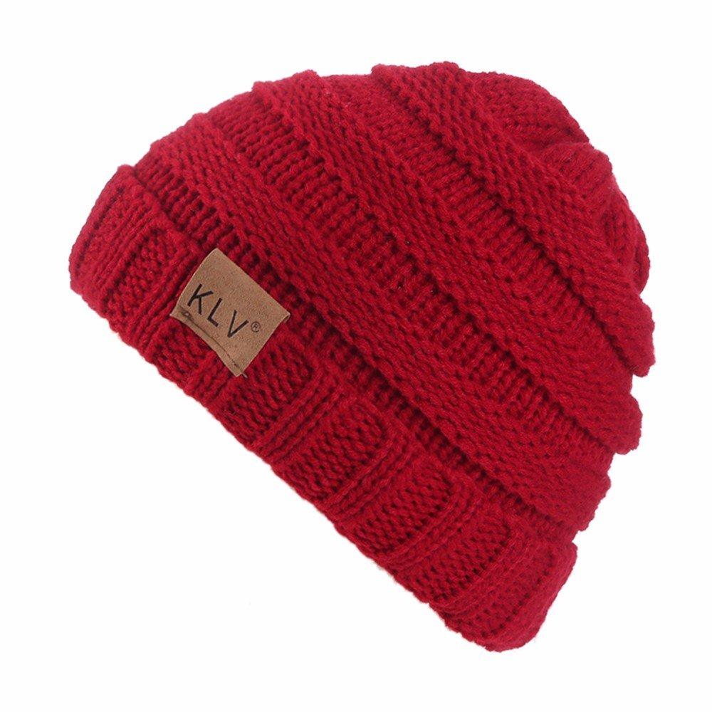 JUTOO Men Women Baggy Warm Crochet Winter Wool Knit Ski Beanie Skull  Slouchy Caps HatDetatchable Ribbed Cable Knit hat Winter warmsanta  hatbobble hat for ... bb9f2705678a