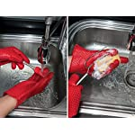 pannoramic 2xGloves Ove BBQ Silicone Heat Resistant Cooking Set Kitchen Mitts Pot Holder Including 1xBrush Basting Silicone Baking Grilling Oil Pastry Bakeware Tool 14 MAXIMUM PROTECTION AND TOP QUALITY SET. Our Ove Glove Non Slip Five Finger Exclusive Flame Design Heat Resistant 100% Waterproof, Easy To Rinse On A Dishwasher Safe Or Throw In The Sink, FDA Approved SUPER SET- ONLY THE BEST FOR YOU- Quality and the satisfaction of our customers is the most important for us. Make cooking and grilling more exciting, effortless and safer with this 3 Great Tools. This SUPEIOR VALUE SET ARE FUNCTIONALLY MATCHED AND VERY REASONABLY PRICED WITH 100% MONEY BACK SATISFACTION GUARANTEE. INCLUDING PREMIUM RESISTANT BASTING SILICONE BRUSH Ideal In The Kitchen When Cooking And Baking Pastry, Grill BBQ, Deserts, Marinades On Meat Spread Glazes, Sauces. Ergonomic Comfort Grip Handel, Heat Resistant. Perfect For Spreading Butter, Oil, Egg, Honey, Glazes Vegetables And Pastries. Designed to Mop up and Hold Generous Amounts of Liquid (BBQ Sauce, Butter Glaze) more Efficiently than your Average Basting Brushes. IS MORE LIKE THE QUIET MEMBER OF THIS SET BUT IT'S EFFICIENT, CONVENIENT, AN