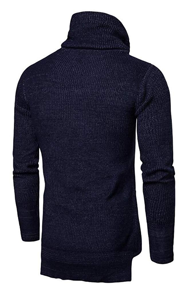 Cafuny Mens Heaps Collar Casual Knitted Sweater Soft Knitwear Pullover Sweaters