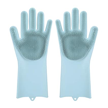 Magic Dishwashing Gloves With Scrubber, Silicone Cleaning Reusable Scrub Gloves For Wash Dish,Kitchen, Bathroom(Green,1 Pair: Right + Left Hand) by Evilto