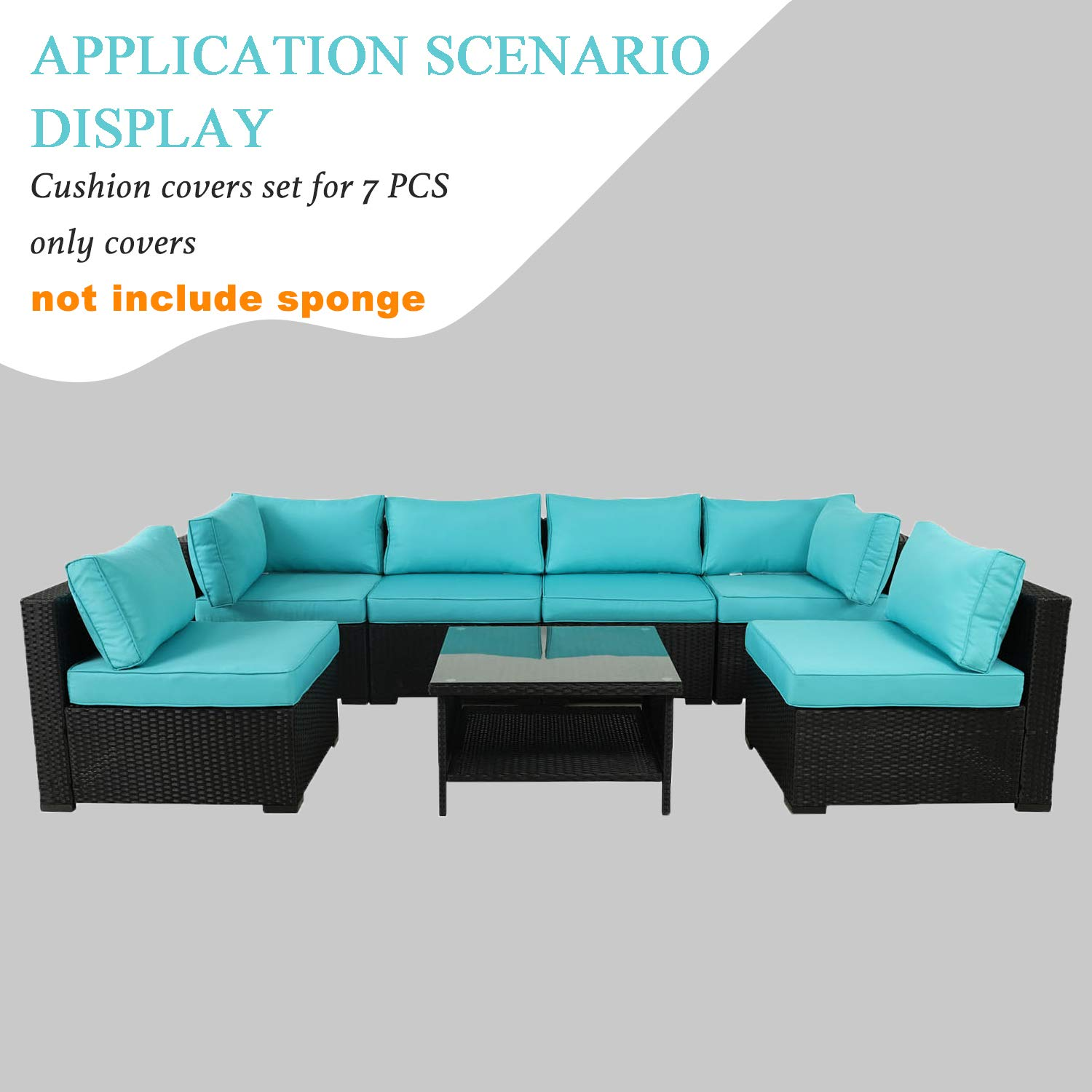 VALITA 7 PCS Outdoor Replacement Cushion Cover Set with Zipper for Sectional Chair Sofa Furniture, Turquoise