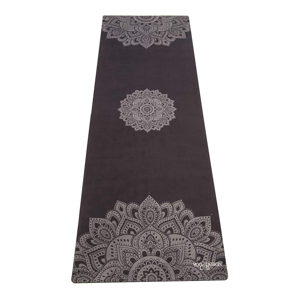 YOGA DESIGN LAB The Commuter Yoga MAT Lightweight, Foldable, Eco Luxury Mat/Towel | Ideal for Hot Yoga, Bikram, Pilates, Barre, Sweat | 1.5mm Thick | Includes Carrying Strap! (Mandala Black,)
