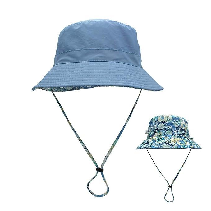 ee71e5b715e57d LLmoway Women Packable Sun Hat Lightweight Cotton Fishing Hiking Safari  Bucket Hat with Strap Blue,
