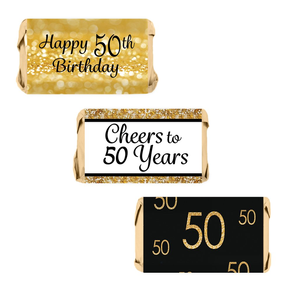 50th Birthday Party Miniatures Candy Bar Wrapper Stickers - Gold and Black (Set of 54)