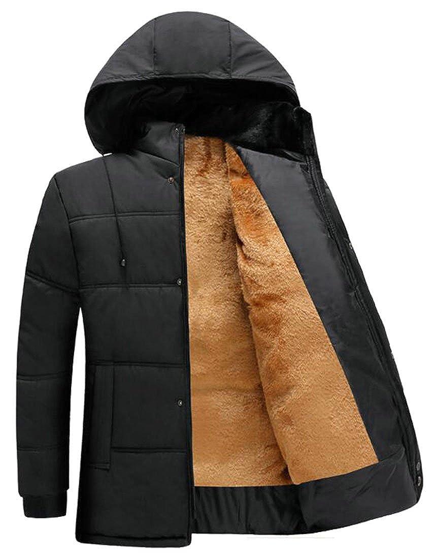 pujingge Mens Warm Fleece-Lined Winter Hoodie Slim Parkas Down Jacket Coat