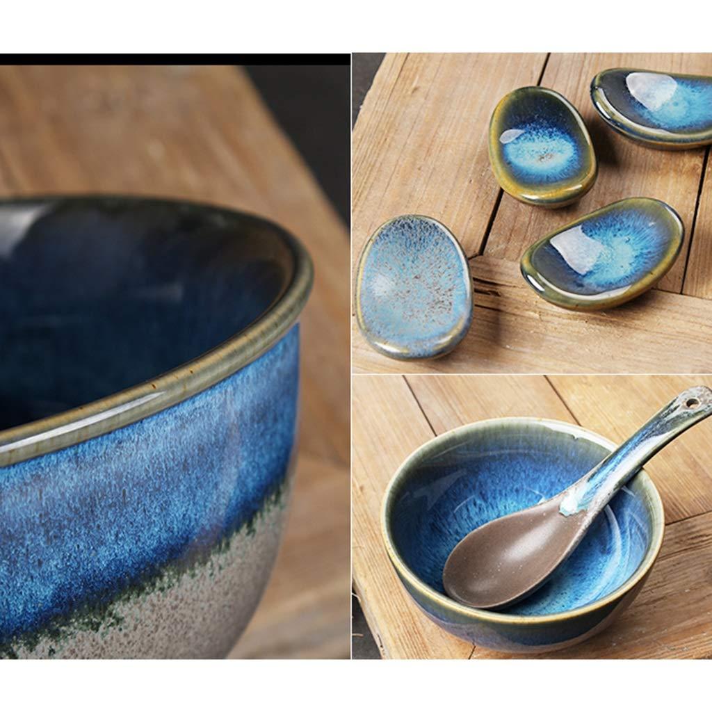 dessert 14.8 * 8CM bleu porridge c/ér/éales Bol rond en c/éramique bleu Ramen Bowls pour boissons riz