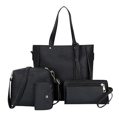 4PCS Set Women Leather Handbag Shoulder Tote Bag Lady Clutch Purse Card Wallets