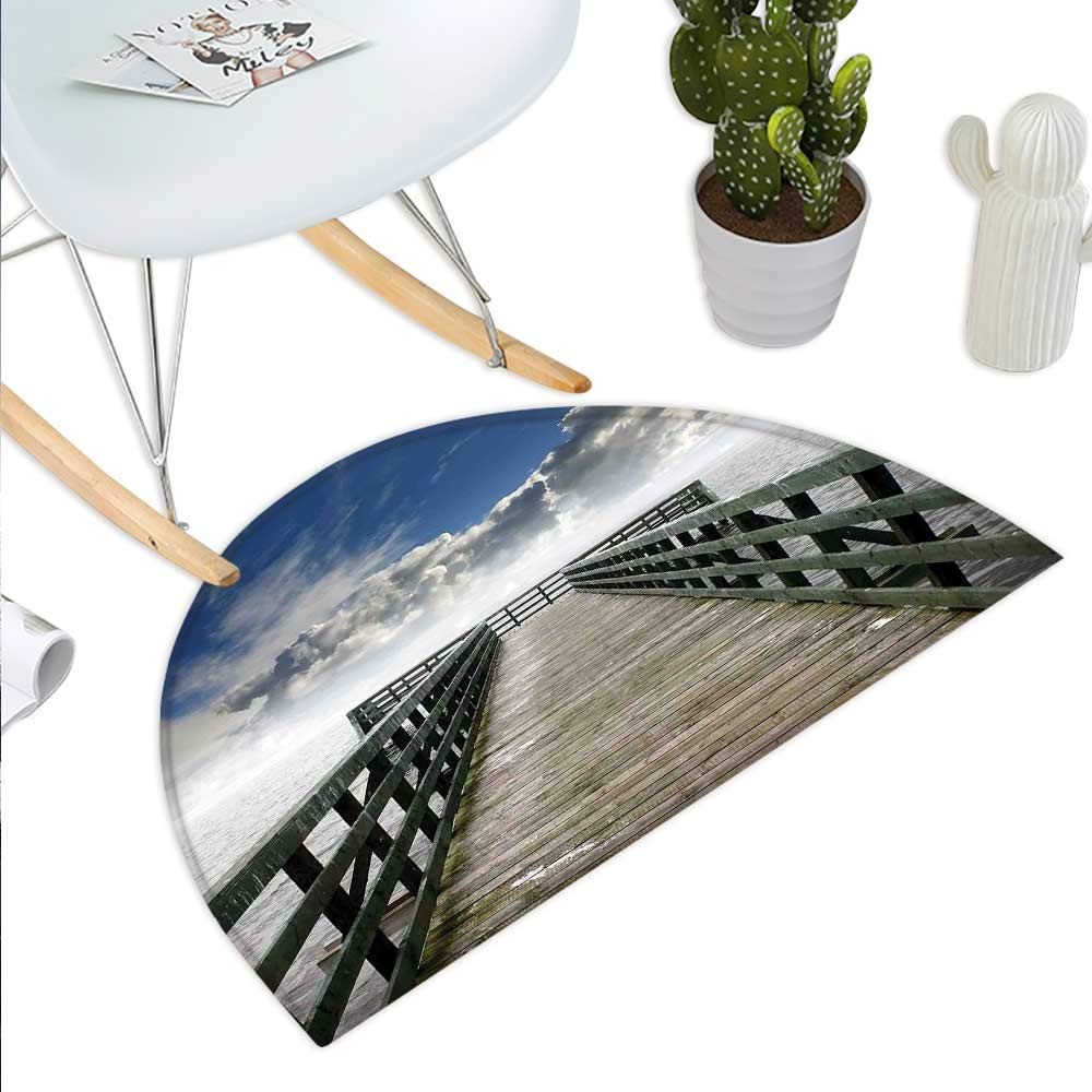 color10 H 31.5  xD 47.2  Seascape Semicircle Doormat Sunset Reflections on Lake Long Wooden Jetty Waterscape Idyllic Horizon Halfmoon doormats H 27.5  xD 41.3  Peach bluee Umber