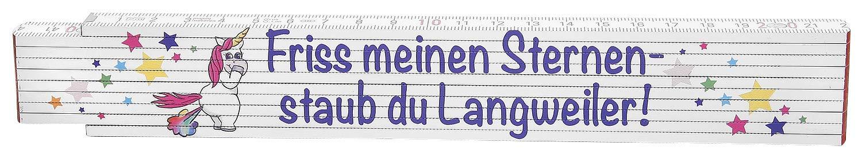 /& Fun-Artikel Standard Friss Mein Glitzer Scherz Einhorn Zollstock