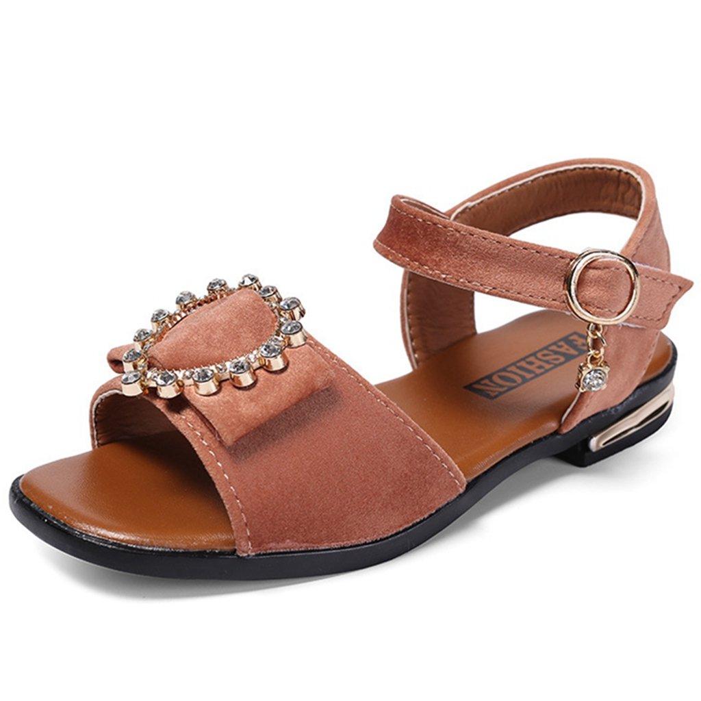 Girls Open Toe Sandals Soft Leather Rhinestone Non-Slip Princess Flat Shoes Summer Sandal