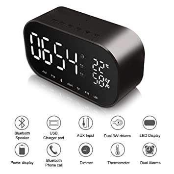 HLMF Despertador Digital Radio Radio Altavoz, Reloj Digital, Mesita de Noche con termómetro, Pantalla LED Regulable, Alarma Doble con repetición,Black: ...