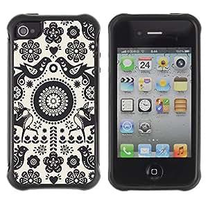 WAWU Funda Carcasa Bumper con Absorci??e Impactos y Anti-Ara??s Espalda Slim Rugged Armor -- folk pattern crotcheted white black -- Apple Iphone 4 / 4S