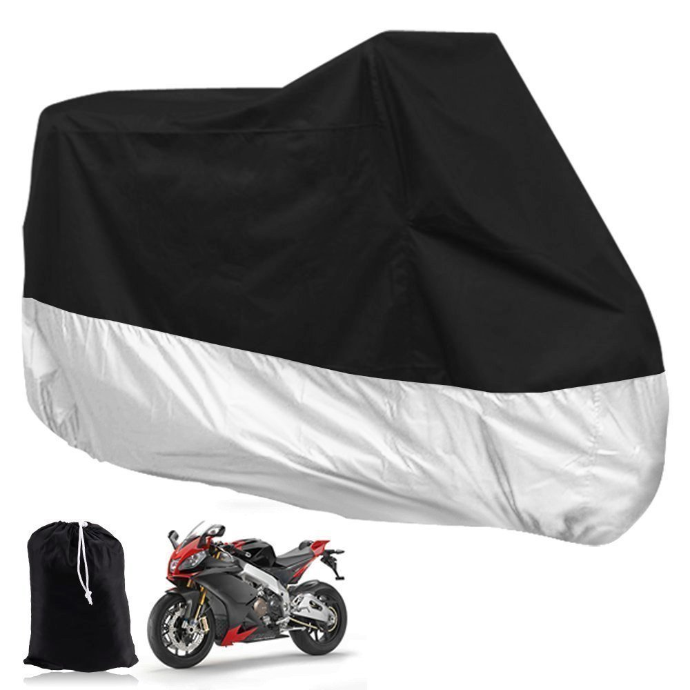 SaveOnMany® XXXL (400cc-1000cc) Motorcycle Motor Bike Moped Scooter Motorbike Cover Waterproof Water Resistant Rain UV Dust Prevention Dustproof Covering + Storage Bag (Black Silver, 295*110*140 CM, 116'1/7 *43'1/3 * 55'1/10) 1161/7 *431/3 * 551/10)
