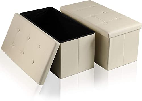Storage Ottoman Bench 2 Pack Folding Faux Leather Ottoman - the best ottoman chair for the money