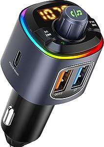 VTIN (Upgraded Version) FM Transmitter Bluetooth for Car, 41W PD&QC3.0 Bluetooth Car Adapter/ Car Kit/ Music Player with RGB Backlit&Bass Mode&CVC