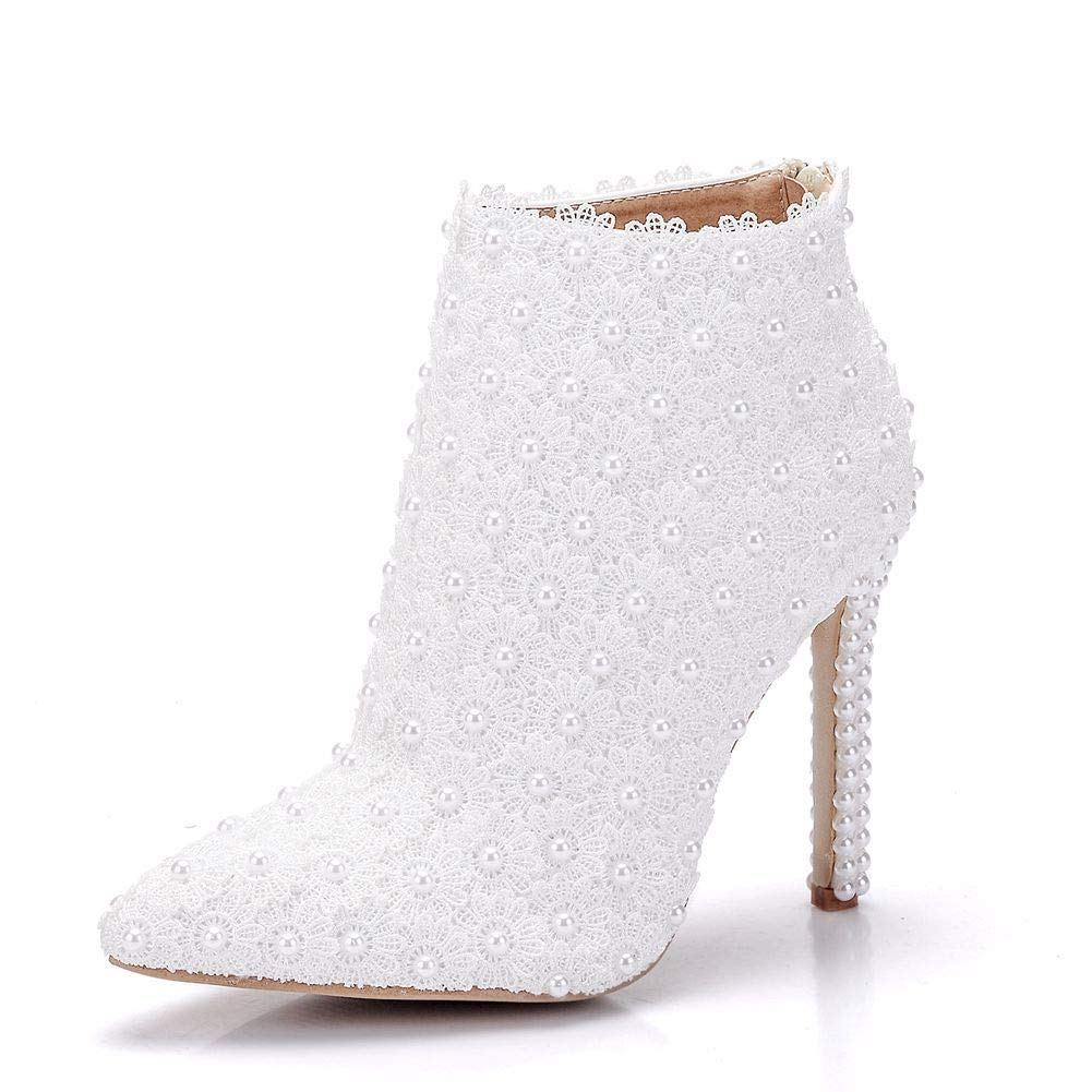 White Women's shoes Lace PU Spring & Fall Wedding shoes Stiletto Heel Pointed Booties Ankle Boots Imitation Pearl Satin Flower White,White,CN0