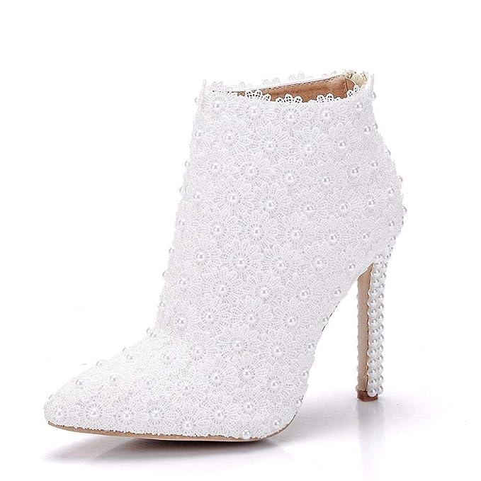 Moojm Moda Donna Stivaletti Scarpe Tacchi Alti Chiusura Lampo Scarpe Da  Sposa Partito Stivali  Amazon.it  Abbigliamento 625555bea37