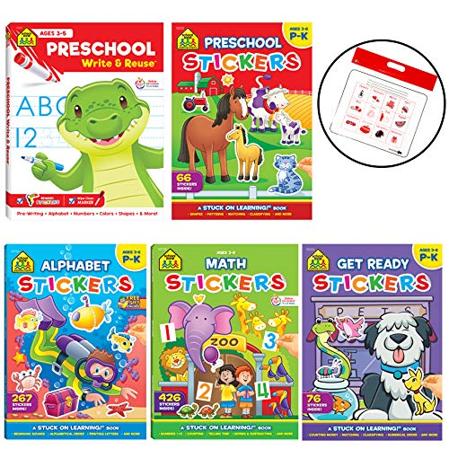 School Zone Set of 5 Preschool Readiness Sticker Book Collection - Covering Alphbet, Math, and General Skills, with Calendar Zipper Bag