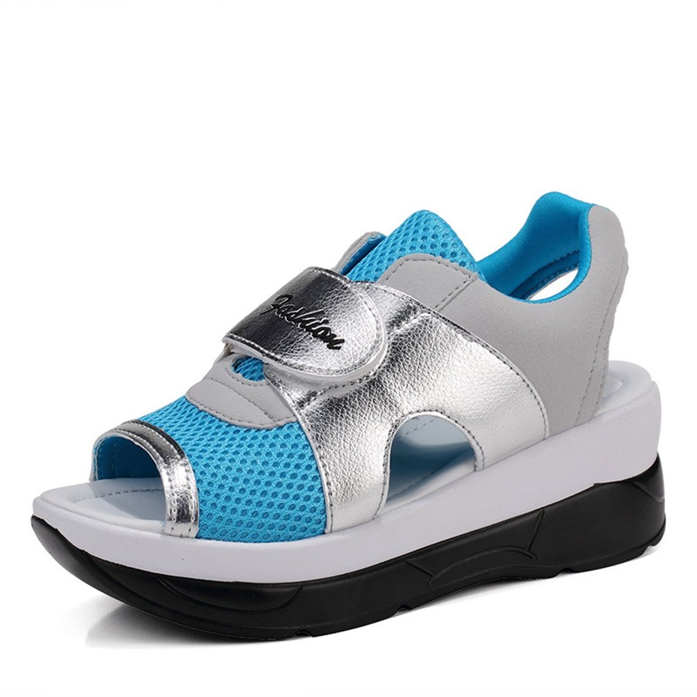 JRenok Damen Sandalen Sneakers Sommer Net Atmungsaktive Strand Sandalen Comfort Schwarz Grau Blau Rot 35-40  40 EU|Blau