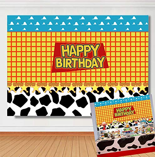 TJ Cartoon Boy Happy Birthday Theme Backdrop Western Cowboy Cowgirl Sky Clouds Cow Photography Background Baby Shower Kids Party Photo Studio Booth Props Cake Table Decor Banner 7x5ft Vinyl]()