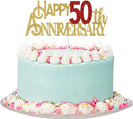 Amazon Com Happy 50th Anniversary Cake Topper 50th Wedding Anniversary Party Decorations 50th Anniversary Party Supplies Toys Games