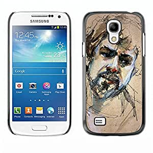 Paccase / SLIM PC / Aliminium Casa Carcasa Funda Case Cover - Sketch Portrait Beard Man Sad - Samsung Galaxy S4 Mini i9190 MINI VERSION!
