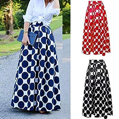 Gloa Retro Big Polka Dot Print Women Casual Party High Waist Long Maxi Skirt Dress - Sapphire Blue XXL