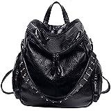 UTO Women Backpack Purse 3 ways PU Washed Leather Rivet Studded Ladies Rucksack Shoulder Bag B Black