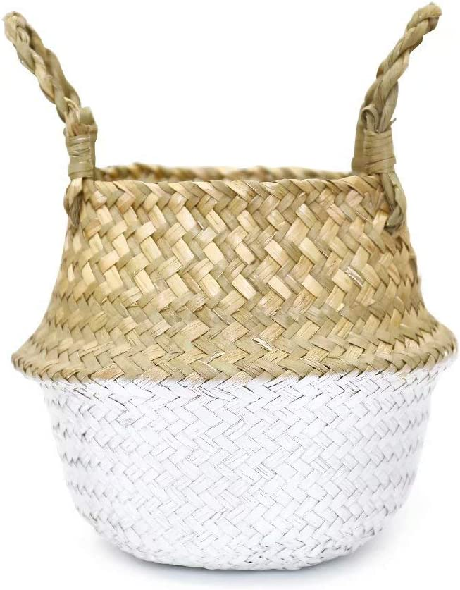 FEILANDUO Laundry Baskets Hand-Woven Seaweed Collapsible Multifunctional Storage Belly Basket with Handle for Storage or Potted Plant Basket Pink, Medium