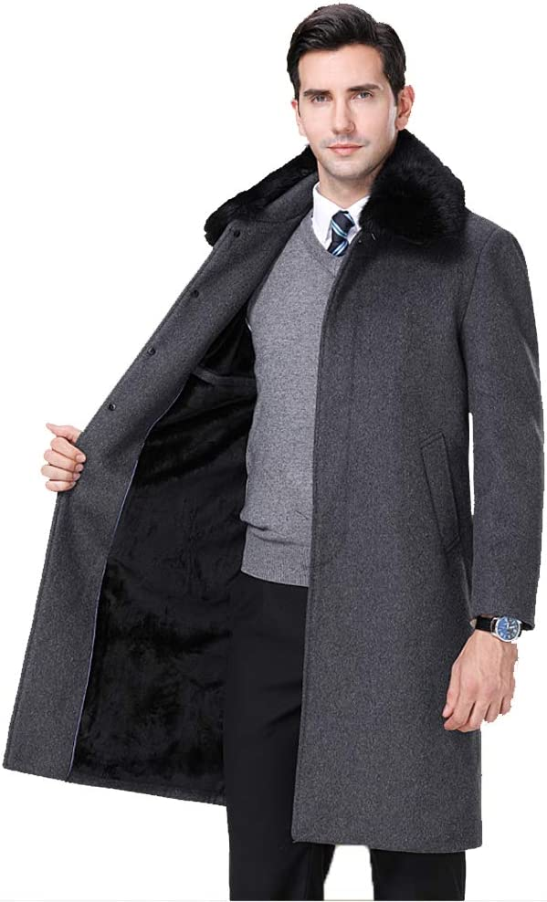 nihiug Mens Cappotto di Lana Invernale Giacche di Lana Trench Mix Soprabito Casuale Monopetto a Lungo Addensare Dimensione Large Grey