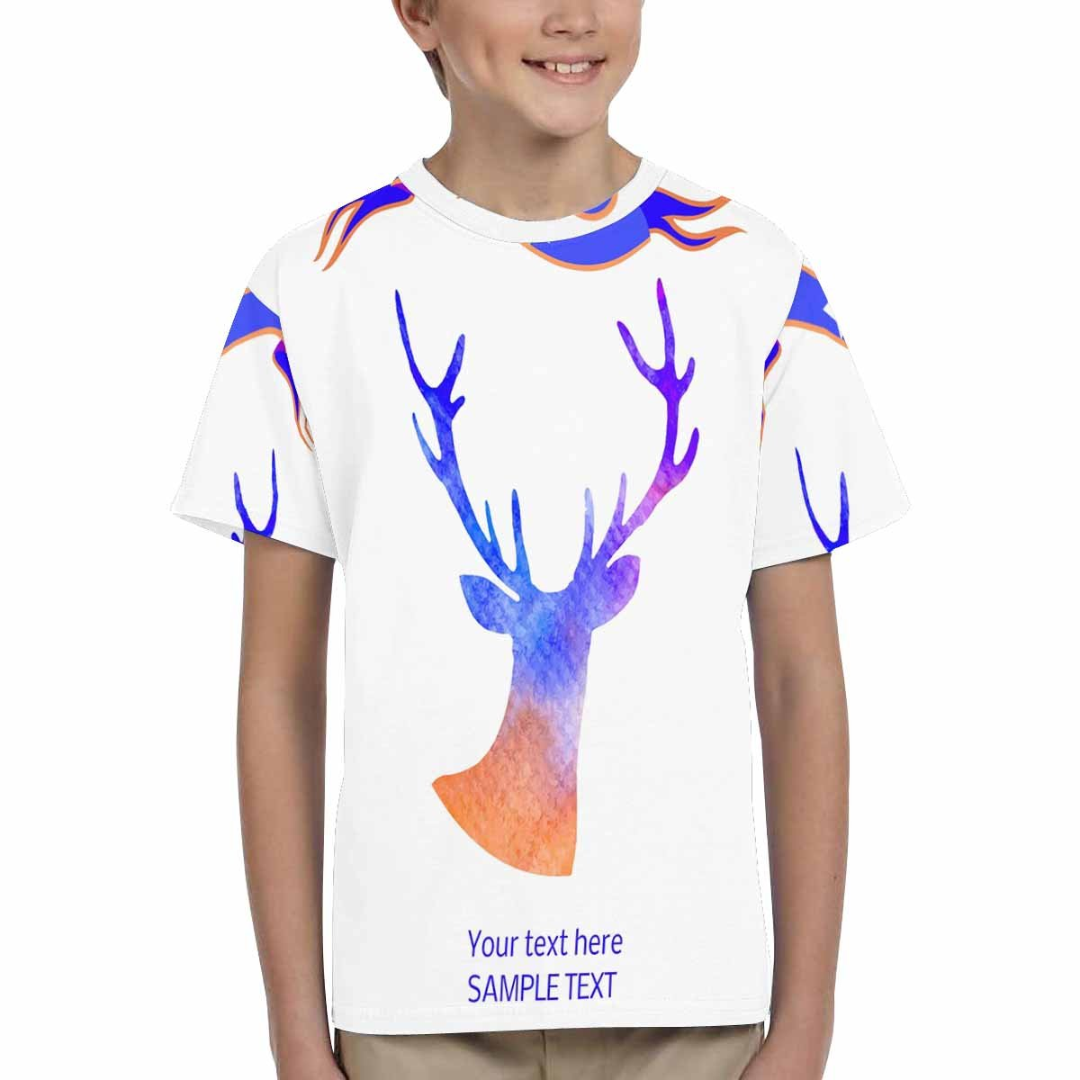 XS-XL INTERESTPRINT Kids T-Shirts Deer Silhouette Isolated on White