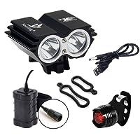 BYBO imperméable à l'eau 5000 Lumens 2x CREE XML U2 LED cycliste à vélo lampe à phare + 8,4V 6400Mah batterie étanche + 1 x chargeur arrière gratuit + chargeur USB