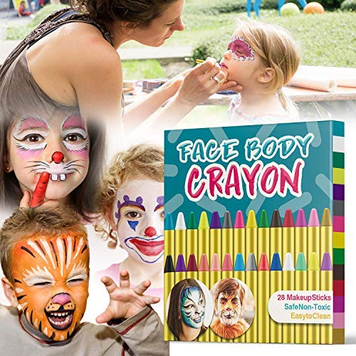 Cool Cat Halloween Makeup (Muscccm Face Painting Crayons kit, 28 Colors Crayons Set for Makeup Body)