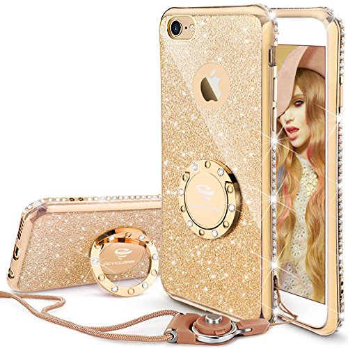 Price comparison product image iPhone 6s Plus Case, Glitter Cute Phone Case Girls with Kickstand, Bling Diamond Rhinestone Bumper Ring Stand Thin Soft Protective Sparkly Apple iPhone 6 Plus, 6s Plus Case for Girl Women - Gold