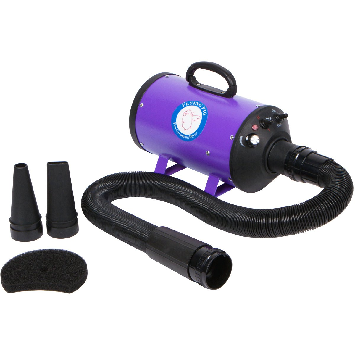 Flying Pig Grooming One Purple High Velocity 4.0 Hp Motor Dog Pet Grooming Force Dryer w/ Heater by Flying Pig Grooming