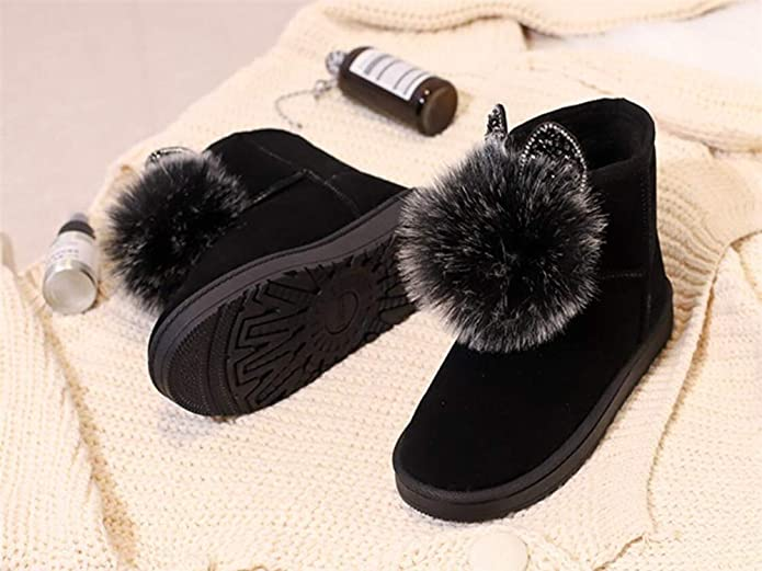zgshnfgk Women Cute Warm Short Boots Chunky Winter Snow Ankle Booties