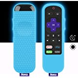 Protective Case for TCL Roku TV Steaming Stick 3600R Remote, Silicone Cover Shock Proof Remote Controller Skin, Anti Slip Universal Replacement Sleeve (Glow Blue)