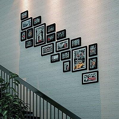 WUXK El Salón de Madera Maciza Escalera Moderna Galería de Imágenes Muro Escalera la Pared del Bastidor Combinación C: Amazon.es: Hogar