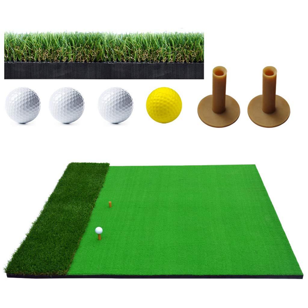 Lxn デュアルサーフェス ヒッティング/練習 チッピング&ドライビング ゴルフ 芝生マット フェアウェイ & 粗い表面 150×150cm (ラバーティー2個とゴルフボール4個付き)