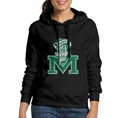 EVALY Women's Cool Marshall University Drawstring Hoodie Black
