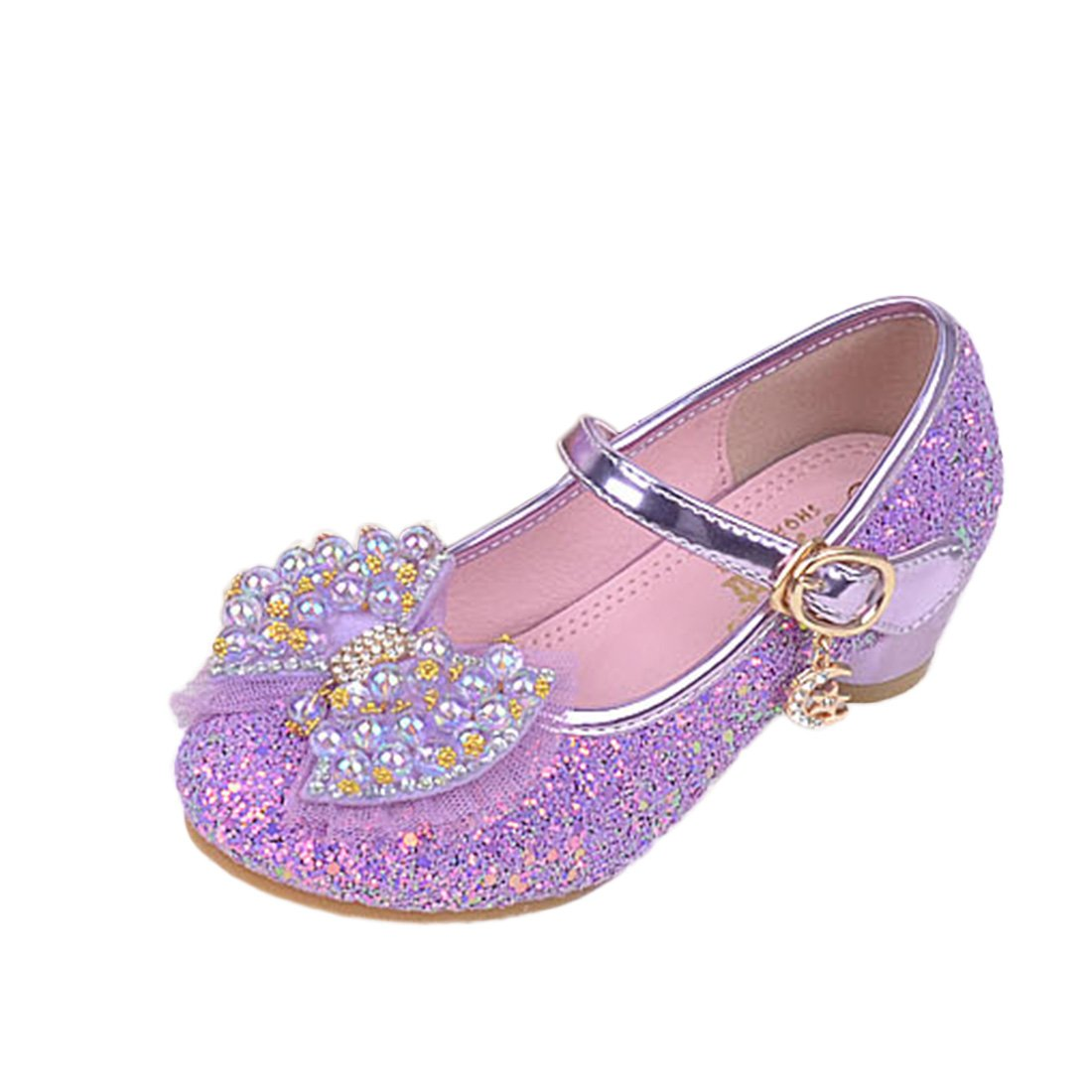 Kids Girls Princess Shoes Faux Pearl Mary Jane Wedding Glitter Dance Party Shoes Low Heels