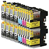 Toner Clinic ® TC-LC103 20PK 8 Black 4 Cyan 4 Magenta 4 Yellow Compatible Inkjet Cartridge for LC-101 LC-103 LC-103 XL LC-103BK, LC-103C, LC-103M, LC-103Y Compatible With Brother DCP-J132W DCP-J152W DCP-J172W DCP-J4110DW DCP-J552DW DCP-J752DW MFC-J245 MFC-J285DW MFC-J4310DW MFC-J4410DW MFC-J450DW MFC-J4510DW MFC-J4610DW MFC-J470DW MFC-J4710DW MFC-J475DW MFC-J650DW MFC-J6520DW MFC-J6720DW MFC-J6920DW MFC-J870DW MFC-J875DW - 20 Pack Compatible Inkjet Cartridges