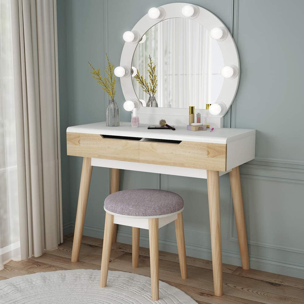 Tribesigns Vanity Set With Round Lighted Mirror Wood Makeup Vanity Dressing Table Dresser Desk With 2 Drawers And Cushioned Stool For Bedroom White Kitchen Dining