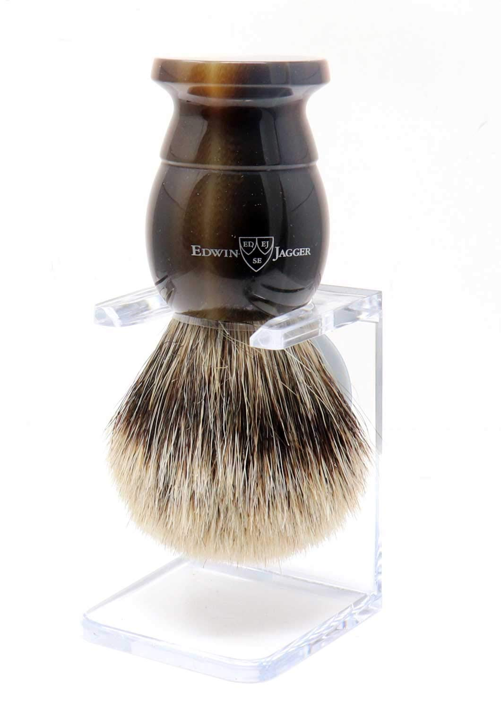 Edwin Jagger Extra Large English Shaving Best Badger Brush & Stand (Imitation Horn)